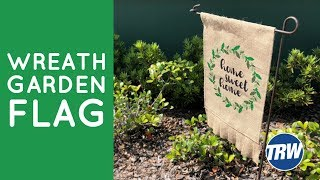 Pressing a 4 Color Glitter Burlap Garden Flag