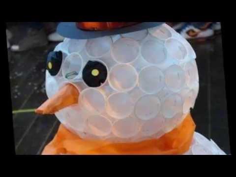 Снеговик из пластиковых стаканчиков Новогодние поделки