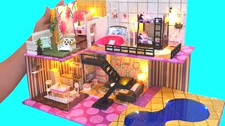DIY MINIATURE BARBIE DREAM HOUSE DOLLHOUSE MANSION with SWIMMING POOL