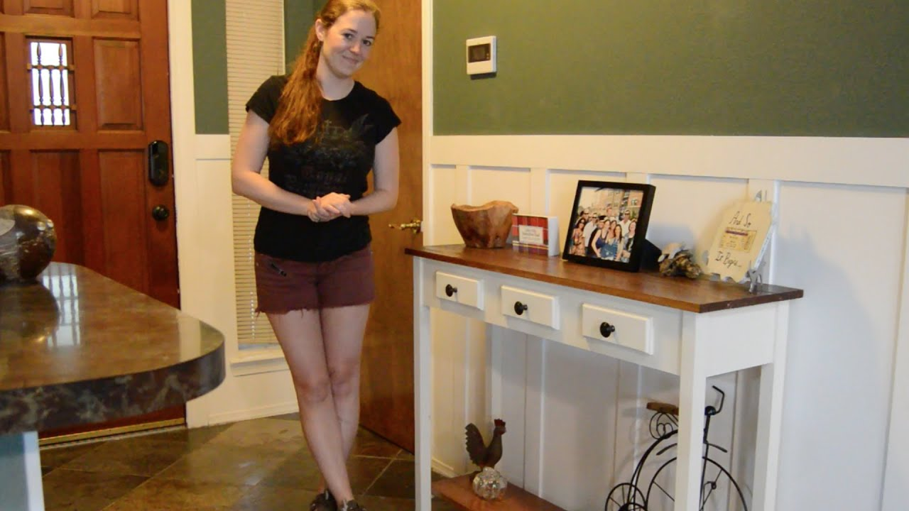 diy entryway table with faux drawers youtube. Black Bedroom Furniture Sets. Home Design Ideas