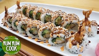 Deep Fried Shrimp Sushi Roll with White Rice | YumYumCook