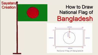 How to draw National Flag of Bangladesh. easy Flag art and color- Sayataru Creation