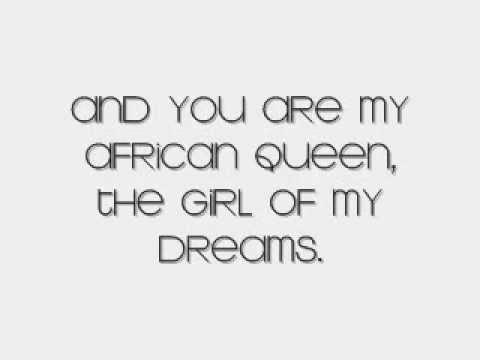 African Queen with lyrics on screen