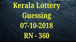 Kerala Lottery Guessing Number 07-10-2018 (RN-360)