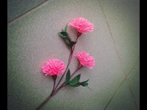 How to make paper flower with crepe paper #4 - Craft tutorial