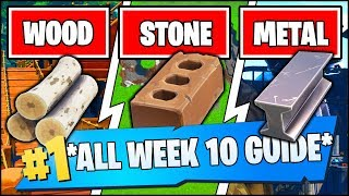 COLLECT WOOD FROM A PIRATE SHIP, STONE FROM FORK KNIFE, METAL FROM ROBOT LOCATIONS(Fortnite Week 10)