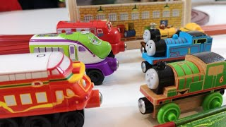 Building Blocks, Wooden Toys, Thomas and Friends vs Chuggingnton, racing, wooden railways, ..