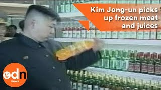 Kim Jong-un picks up frozen meat and juices in North Korean supermarket