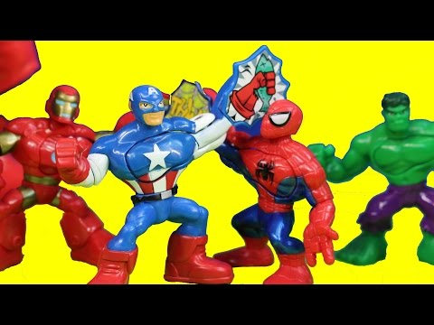 Marvel Playskool Superhero Adventures Captain America Incredible Hulk Spider-man Masters Kapow video