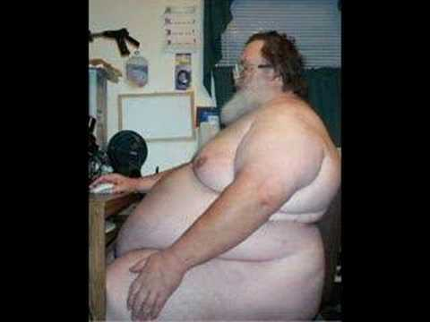 fat naked guy at pc