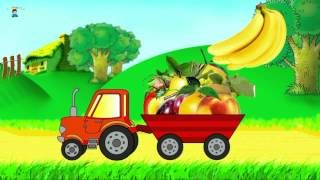 Cartoon about a tractor. Learning fruits. Developing cartoon