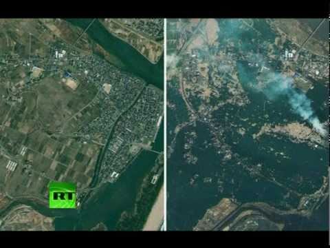 Satellite images before & after Japan tsunami; aerial, ground video of aftermath