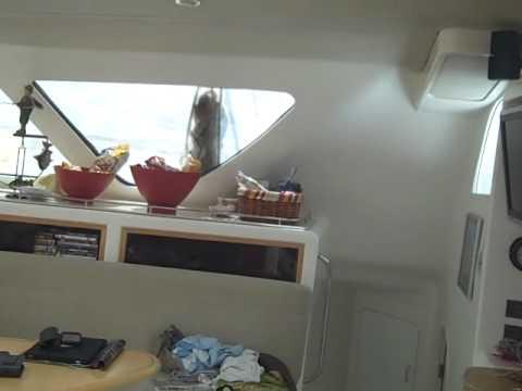Inside a catamaran