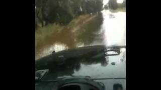 Jeep in floods
