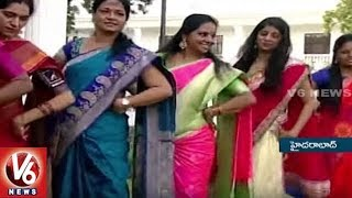 MP Kavitha And Padma Devender Participates In Bathukamma Celebrations At Pragathi Bhavan