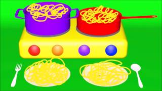 Learn colors counting names of fruits and vegetables cook spaghetti