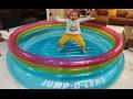 yeni mavi zıplama havuzu, eğlenceli çocuk videosu