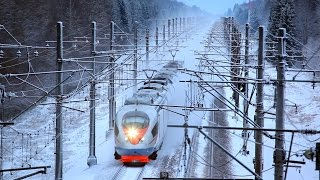 "[RZD] ""Sapsan"" high-speed trains. Snow day."