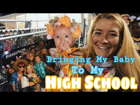 Bringing my baby to my high school's football game// teen mom vlogs