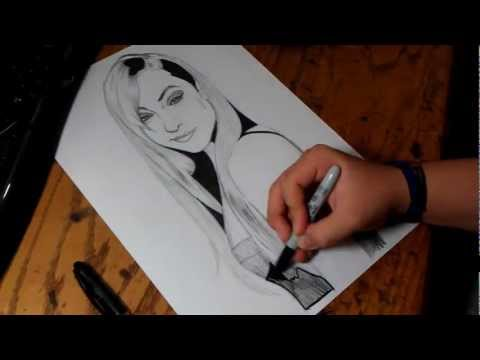 Dibujando A  Sasha Grey  By Diego S. video