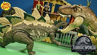 New Jurassic World Dino Rivals Mega Dual Attack Stegosaurus Unboxing Fallen Kingdom T-Rex Vs