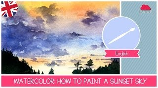 WATERCOLOR Class: How to paint a SUNSET SKY- Easy Technique for beginners by Fantasvale
