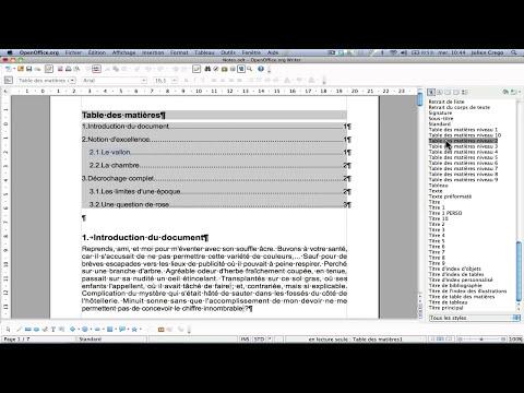 OpenOffice Texte : Table des matières - Partie 1