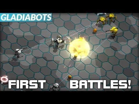 Initial Battlebot AI Programming and First Battles! (Gladiabots #02)