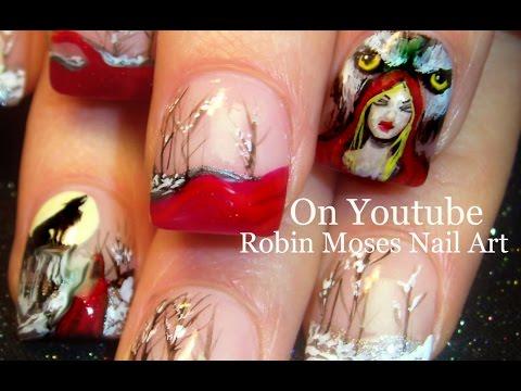 3 Nail Art Tutorials | Diy Halloween Nail Designs | Little Red Riding Hood video