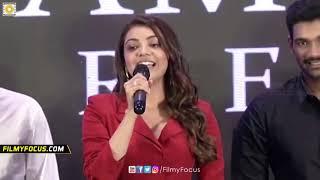 Chota K Naidu Kissing Kajal Agarwal on Stage @Kavacham Movie Teaser Launch