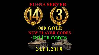 Wot New nvite Code 2018 17 day premium1000 goldT2
