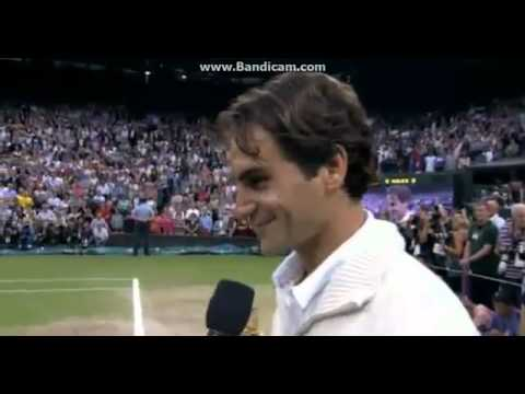 Roger Federer after winning Wimbledon 2012 Final   Vs Andy Murray Interview 8 7 2012