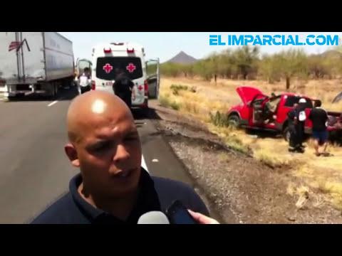 Volcadura en el tramo carretero Guaymas-Hermosillo.