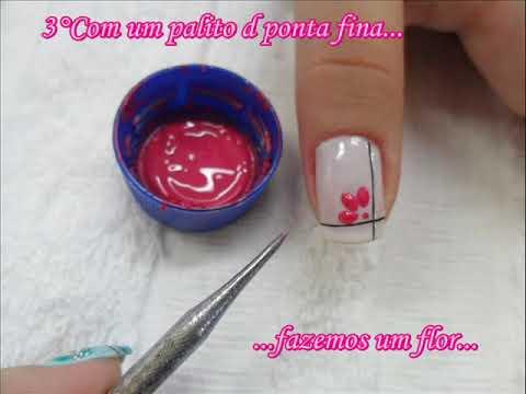 Unha Decorada Flor Rosa
