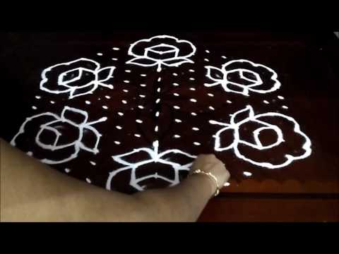 Rose flower kolam designs with 15 - 8 middle | chukkala muggulu with dots| rangoli design