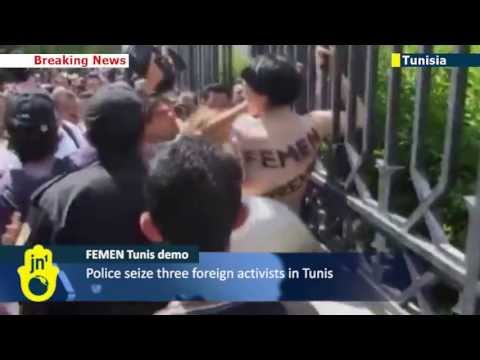 Topless Protest in Tunisia: FEMEN claim nude demonstration is a first for the Arab World