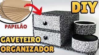 DIY: COMO FAZER um GAVETEIRO ORGANIZADOR com PAPELÃO e Tecido   #diypapelao