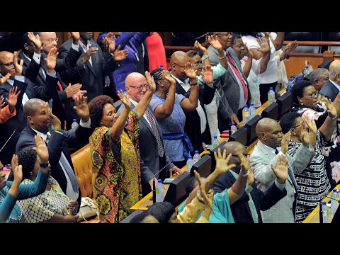 South African MPs celebrate as Cyril Ramaphosa is sworn in MP3
