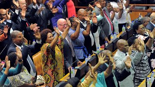 South African MPs celebrate as Cyril Ramaphosa is sworn in