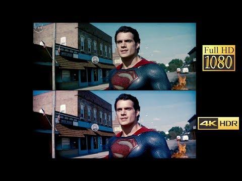 Comparison 4k vs 1080p | Man of Steel (Battle In Smallville)