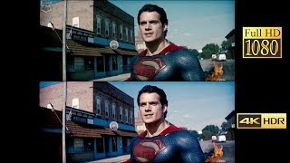 Comparison 4k vs 1080p | Man of Steel (Battle In Smallville)