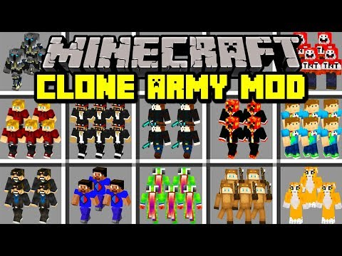 Minecraft CLONE ARMY MOD! | BUILD ARMY OF YOUTUBER CLONES! | Modded Mini-Game