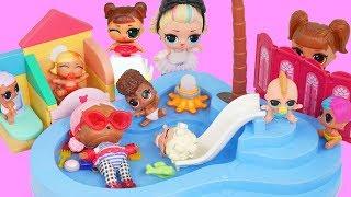 LOL Family in Barbie Playmobil Pool Surf Routine visit Punk Boi