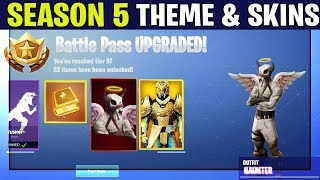 *NEW* Fortnite: SEASON 5 BATTLE PASS LEAKS AND INFORMATION! | (New Theme, Skins and More!)