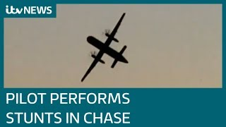 Stolen Seattle airport plane does stunts while being chased by fighter jets | ITV News