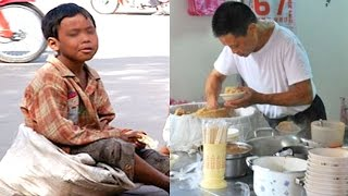 Chủ quán luôn bán chịu tiền cơm cho cậu bé nghèo 10 năm sau một vị khách lạ xuất hiện và ...