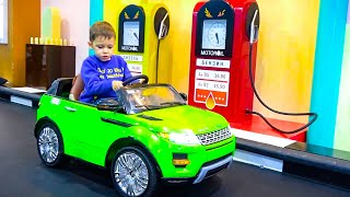 Funny Tema Ride on Power Wheels cars and Pretend Play with toys on the Playground for Children