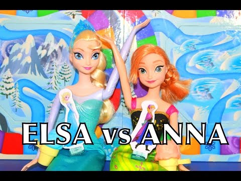 Frozen Elsa Vs Anna Suprise Slides Game Disney Barbie Parody Toy Alltoycollector video