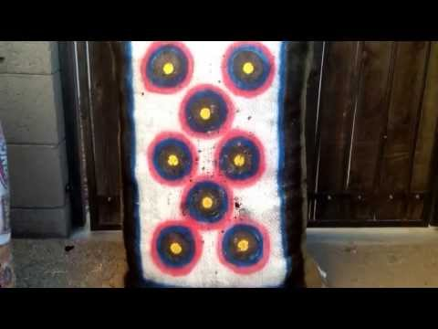 Homemade archery bag target. Made out of an old coffee bean bag and painted.