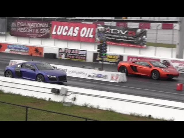 616 HP McLaren MP4-12C v 550 HP Audi R8 V10 Plus - 1/4 mile Drag Race - StreetCarDrags.com